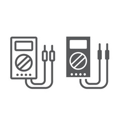 Digital multimeter line and glyph icon tool and vector
