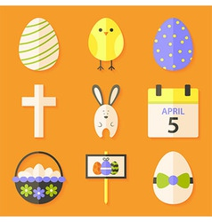 easter icons set with shadows over orange vector image