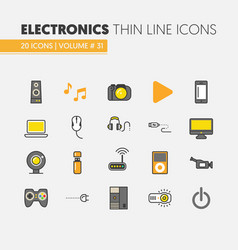 Electronics technology thin line icons set vector