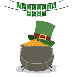 Festoons patricks day with hat over treasure of vector