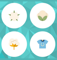 flat icon fiber set of flower blouse bud and vector image