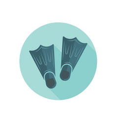 flippers isolated round flat icon vector image