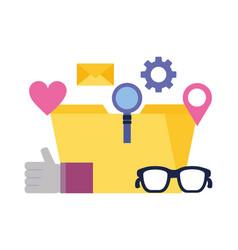 folder magnifying glass hand like email social vector image