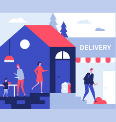 Food delivery service - flat design style vector