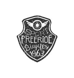 Freeride Vintage Badge With Winged Wheel vector image