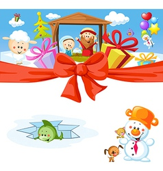 funny christmas design with nativity vector image