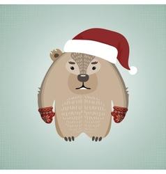 Funny hipster wombat wearing Santas hat vector
