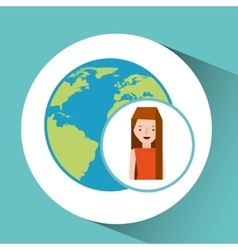 Girl globe world tourist traveler vector