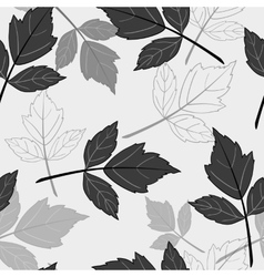 Gray seamless pattern with leaves vector