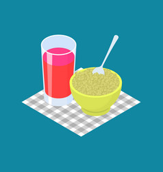 Green buckwheat porridge and fruit juice vector