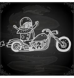 Hand drawn bikie on a motorbike vector