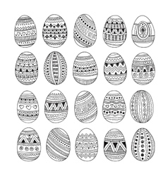 Hand drawn ornamental Easter eggs set vector image