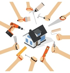 Hands with home repair diy renovation housework vector image