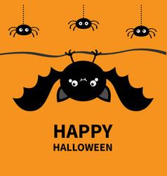 Happy halloween bat spider set hanging cute vector