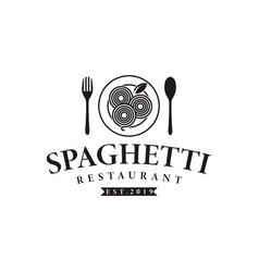 hipster retro spaghetti pasta noodle logo vector image
