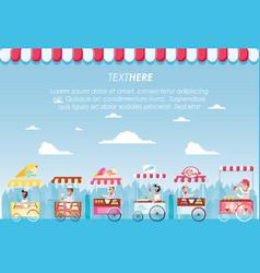 Ice cream set kiosks shop vector