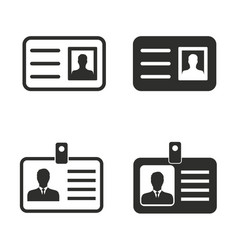 Identification card icon set vector
