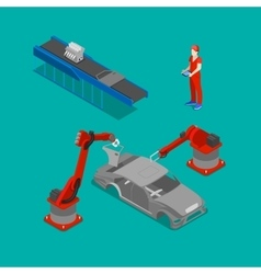 Isometric Car Production Assembly Line Factory vector image