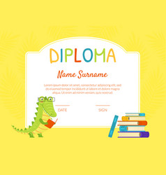 Kids diploma template educational certificate for vector