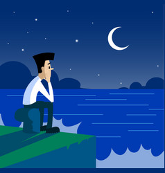lonely man sitting on the pier at night vector image