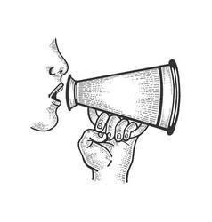 Loudspeaker speech engraving vector