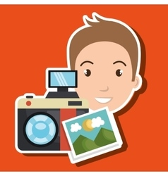 Man photo camera graphic vector