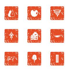Margin icons set grunge style vector