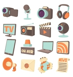 Media communications icons set cartoon style vector