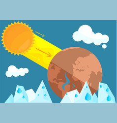 Melting glacier and evaporation water sun vector