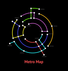 metro map sign color round thin line card vector image