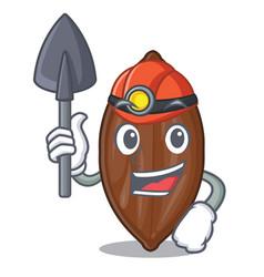 Miner pecan nuts pile on plate cartoon vector