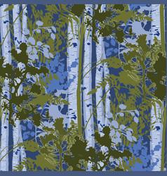 Mixed forest lanscape fir trees birch trees vector
