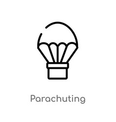 outline parachuting icon isolated black simple vector image