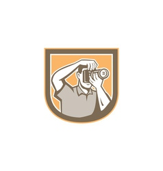 Photographer Camera Shield Retro vector image vector image