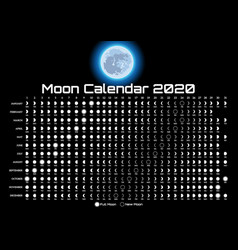 printable template with lunar calendar and vector image