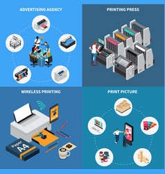 Printing house isometric concept vector