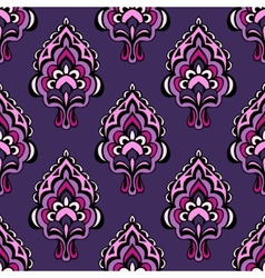 Purple Damask flower seamless vintage vector image