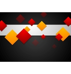 Red and orange geometric squares on black vector