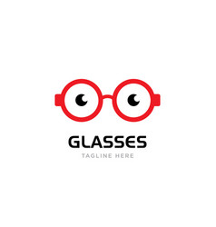 red round glasses with black eyes vector image