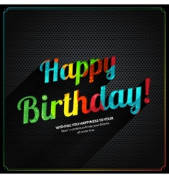 Retro birthday card with colorful text on metal vector
