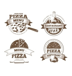 Retro pizzeria labels logos badges vector image