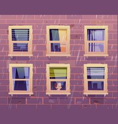 Sad girl looks through window at rain outside vector