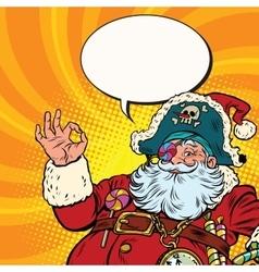 Santa Claus pirate OK gesture vector image