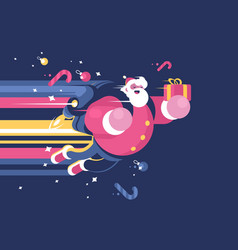 santa claus with bag gifts flying vector image