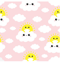 seamless pattern sun holding cloud in sky vector image