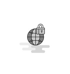 secure internet web icon flat line filled gray vector image
