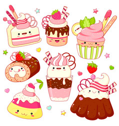 set cute sweet icons in kawaii style vector image