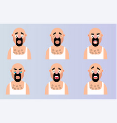 set face emotion cartoon man character flat vector image