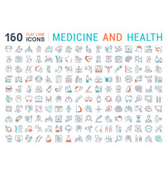 Set flat line icons medicine and health vector