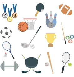 set flat sport icons vector image